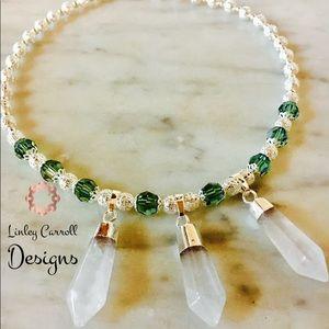 Jewelry - Green Swarovski Crystal Necklace w/ Point Pendants
